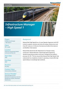 Infrastructure Manager UK High Speed Lines