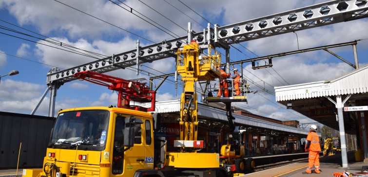 Network Rail undertaking Crossrail overhead line replacement work at Shenfield